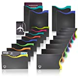Amazy RFID & NFC Schutzhüllen (20 Stück) inkl. Kofferanhänger - TÜV-geprüft - 100% Schutz vor Identitäts- und Datendiebstahl - Extra-robuste Hüllen für Kreditkarten, EC-Karten, Ausweise und Reisepass