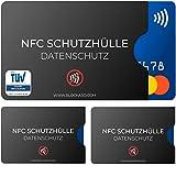 TÜV geprüfte NFC Schutzhülle (3 Stück) aus Kunststoff für Kreditkarte Personalausweis EC-Karte Bankkarte Ausweis - 100% Schutz vor unerlaubtem Auslesen - Kreditkarten RFID Blocker Plastik Schutz-Hülle