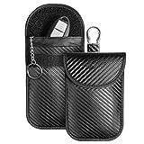 MONOJOY 2X Keyless Go Schutz Autoschlüssel,Faraday Tasche für Autoschlüssel, Autoschlüssel Signalblocker Tasche mit Hakensicherungskette, Diebstahlsicherer RFID, Autoschlüssel Sicher (kohlefaser)